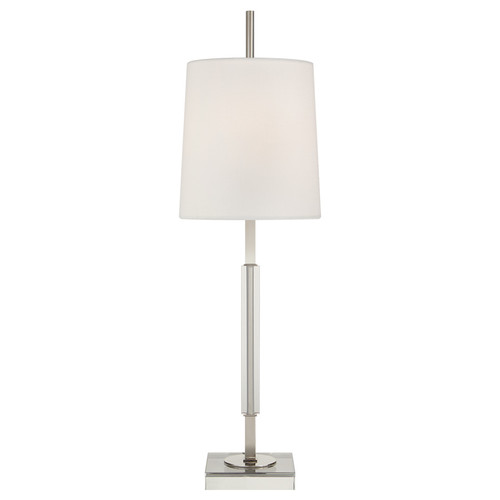 Lexington Medium Polished Nickel and Crystal with Linen Shade Table Lamp