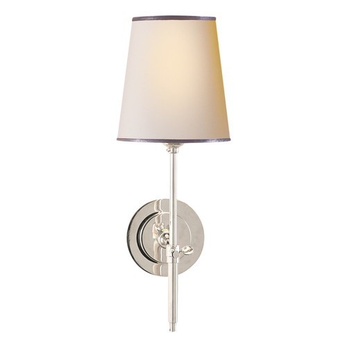Bryant Natural Paper Shade with Polished Nickel and Silver Tape Wall Sconce