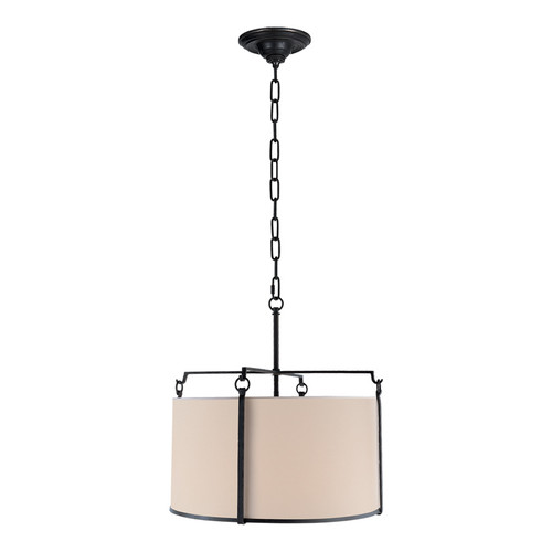 Aspen Large Drum Black Rust with Natural Paper Shade Pendant Light