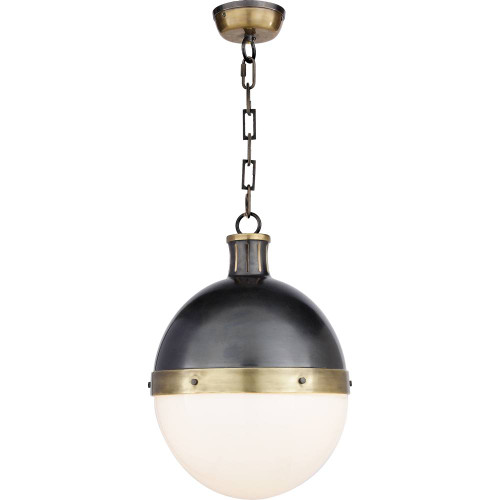 Hicks Large Round Bronze and Antique Brass with White Glass Pendant Light