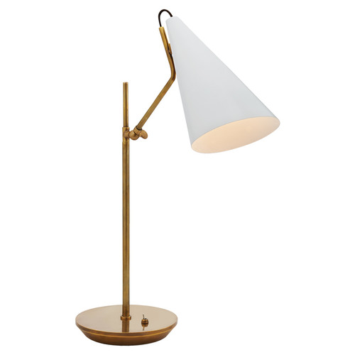 Clemente Antique Brass with White Shades Table Lamp