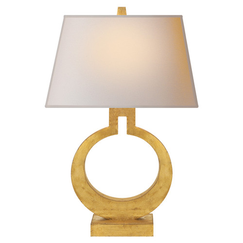 Ring Form Large Gilded with Natural Paper Shade Table Lamp