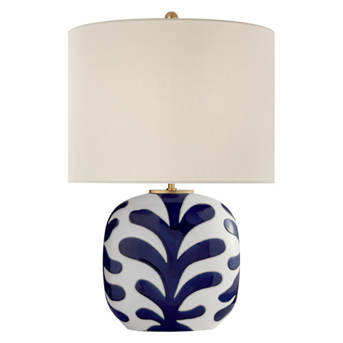 Parkwood Medium New White & Cobalt with Linen Shade Table Lamp