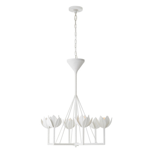 Alberto Small Plaster White Single Tier Chandelier