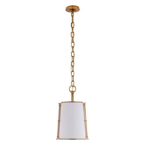 Hastings Small Drum Antique Brass with White Shade Pendant Light