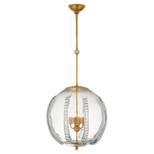 Gisela Large Globe Antique Brass with Seeded Glass Pendant Light