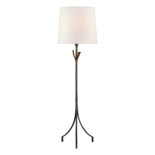 Fliana Aged Iron with Linen Shade Tripod Base Floor Lamp