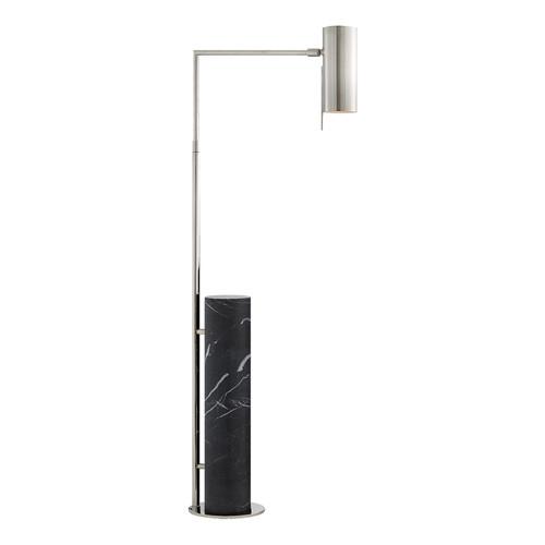 Alma Polished Nickel and Black Marble Floor Lamp