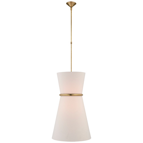 Clarkson Large Brass & Linen Pendant Light