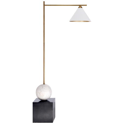 Cleo Bronze and Antique Brass with Antique White Shade Floor Lamp
