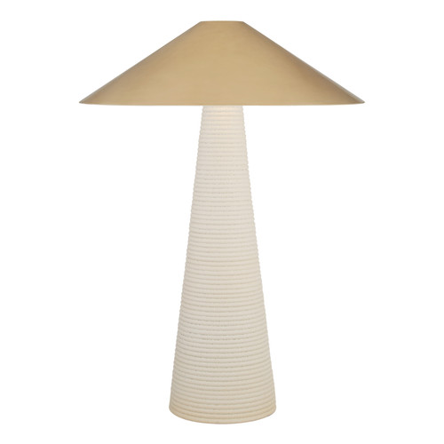 Miramar Porous White with Antique Brass Shade Table Lamp