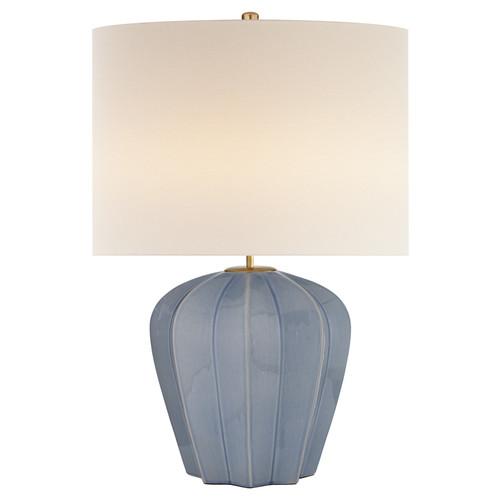 Pierrepont Medium Polar Blue Crackle with Linen Shade Table Lamp