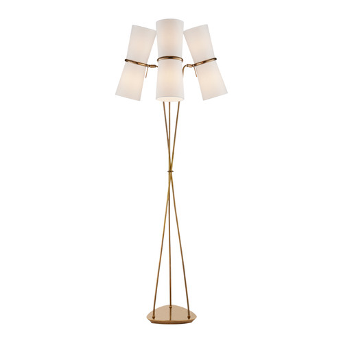 Clarkson Triple Light Antique Brass with Linen Shades Floor Lamp