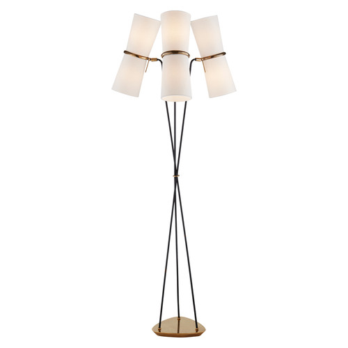 Clarkson Triple Light Antique Brass and Black with Linen Shades Floor Lamp