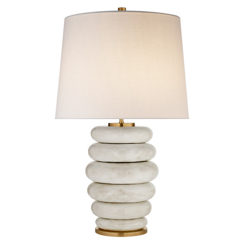 Phoebe Stacked Antiqued White with Linen Shade Table Lamp