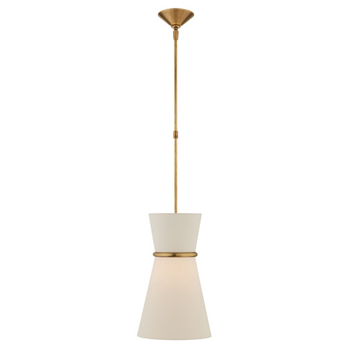Clarkson Small Single Antique Brass with Linen Shades Pendant Light