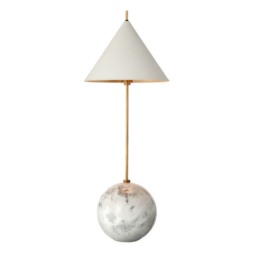 Cleo Orb Base Antique-Burnished Brass with Antique White Shade Accent Lamp