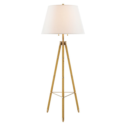 Irwin Birch with Linen Shade Floor Light