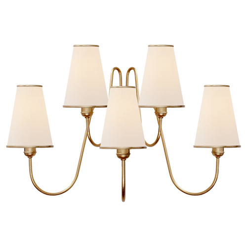 Montreuil Medium 5 Light Gild with Linen Shades Wall Sconce