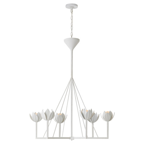 Alberto Large Single Tier Plaster White Chandelier