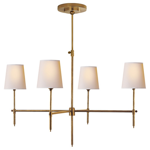 Bryant Large 4 Light Antique Brass with Natural Paper Shades Chandelier