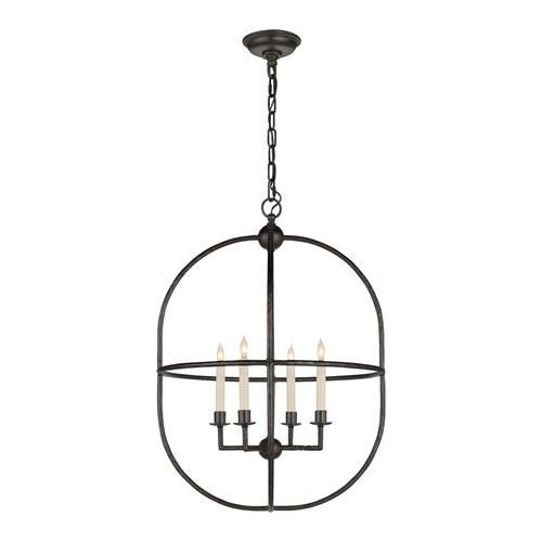 Desmond Aged Iron Open Oval Lantern Pendant Light