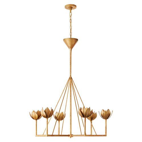 Alberto Large Single Tier Antique Gold Leaf Chandelier