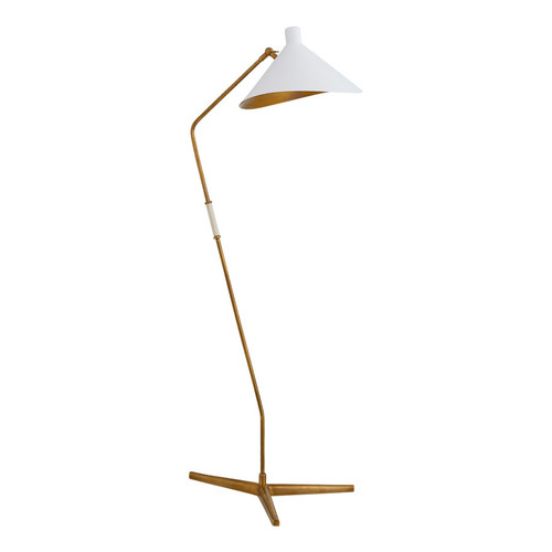 Mayotte Large Offset Antique Brass with White Shade Floor Lamp