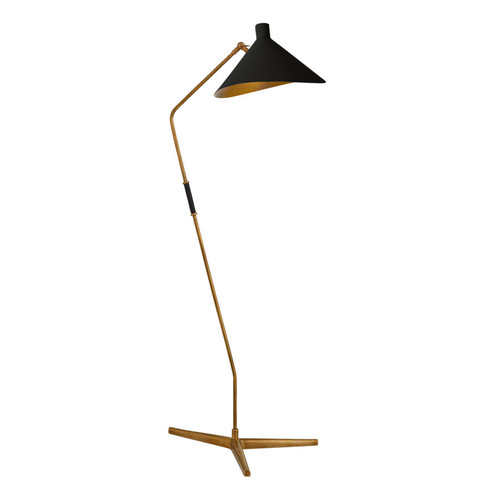 Mayotte Large Offset Antique Brass with Black Shade Floor Lamp