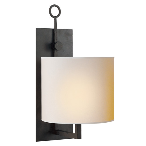 Aspen Iron Black Rust with Natural Paper Shade Wall Lamp