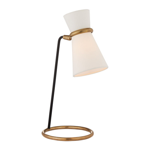 Clarkson Antique Brass and Black with Linen Shade Table Lamp