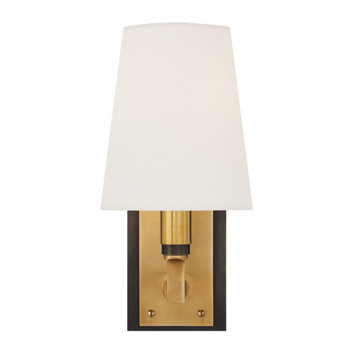 Watson Small Bronze and Antique Brass with Linen Shade Wall Sconce