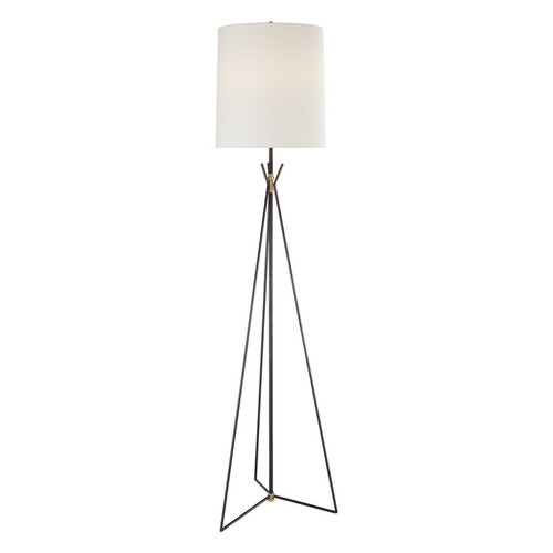 Tavares Large Aged Iron and Antique Brass with Linen Shade Floor Lamp