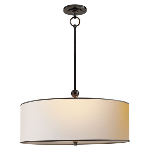 Reed Drum Bronze with Natural Paper Shade with Black Tape Pendant Light