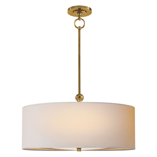 Reed Drum Brass with Natural Paper Shade Pendant Light