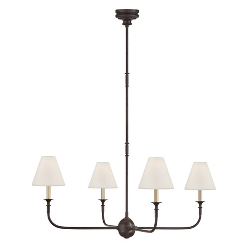 Piaf Large 4 Light Aged Iron and Ebonized Oak with Linen Shades Chandelier