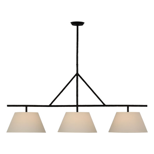 Collette Large 3 Light Aged Iron with Linen Shades Linear Pendant Light