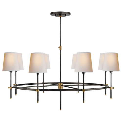 Bryant Large 8 Light Ring Bronze & Antique Brass with Natural Paper Shades Chandelier