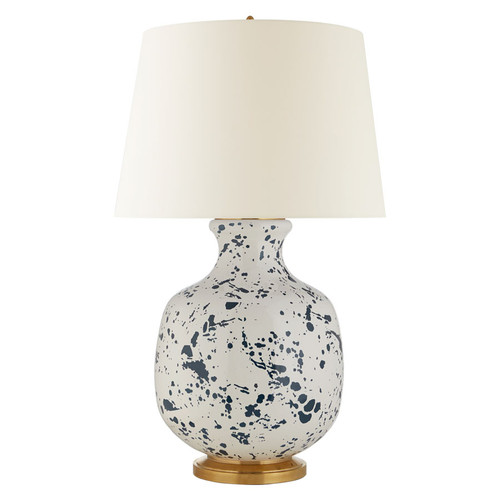 Buatta Large Blue Splatter with Linen Shade Table Lamp