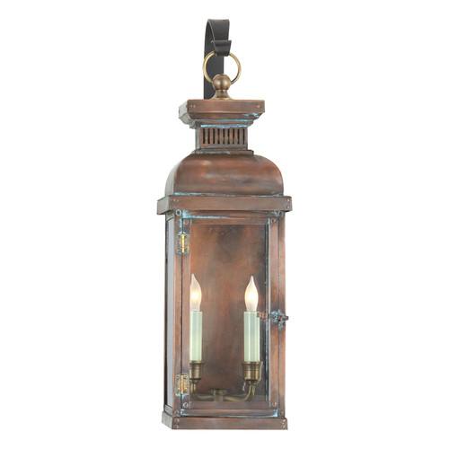 Suffork Medium Scroll Arm Natural Copper Lantern Wall Light