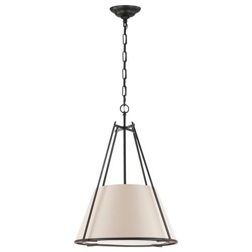 Aspen Large Natural Paper Shade Conical Hanging Pendant Lamp-  Black Rust