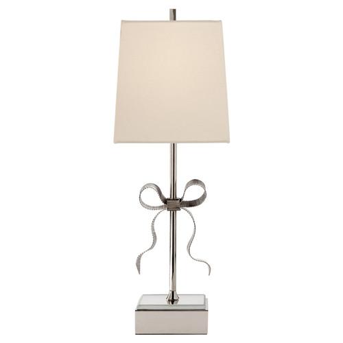 Ellery Gros-Grain Bow Cream Linen Shade Table Lamp - Nickel
