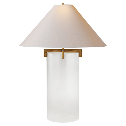 Brooks Crystal and Gilded Iron with Natural Paper Shade Table Lamp