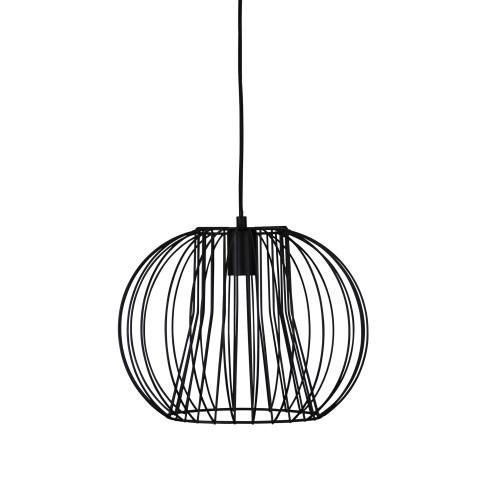 Marlin 1 Light Black Spherical Wire Pendant Light
