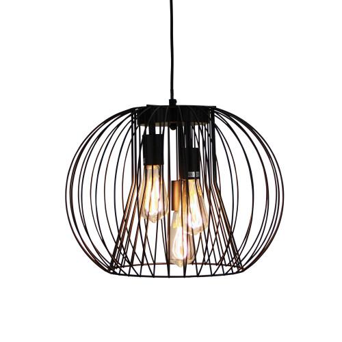 Marlin 3 Light Black Spherical Wire Pendant Light