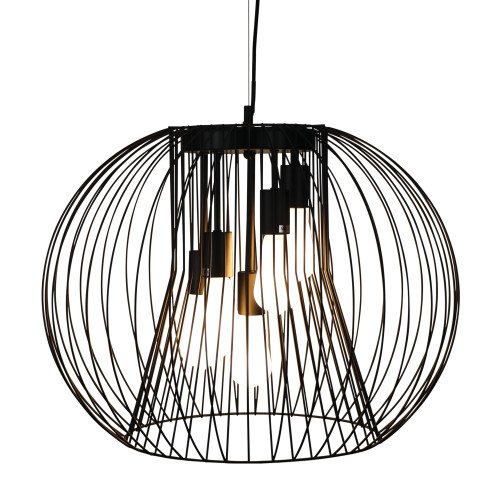 Marlin 5 Light Black Spherical Wire Pendant Light