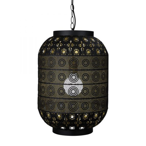 Alhambra Arabic Stencil Cutouts Matte Black Pendant Light - Medium