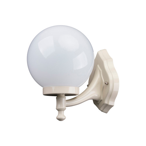 Sorrento Sphere Opal & Beige Acrylic Curved Arm Outdoor Wall Light
