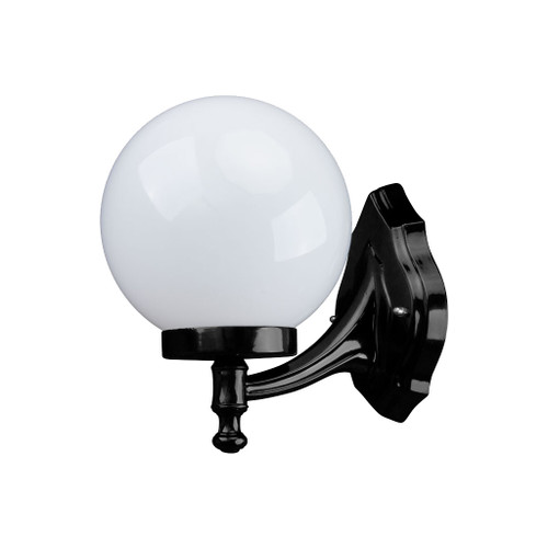 Sorrento Sphere Opal & Black Acrylic Curved Arm Outdoor Wall Light