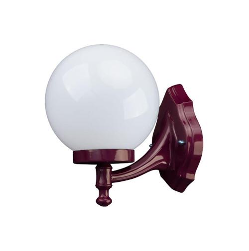 Sorrento Sphere Opal & Burgundy Acrylic Curved Arm Outdoor Wall Light